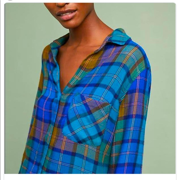 ANTHROPOLOGIE   New! CLOTH AND STONE PLAID SHIRT